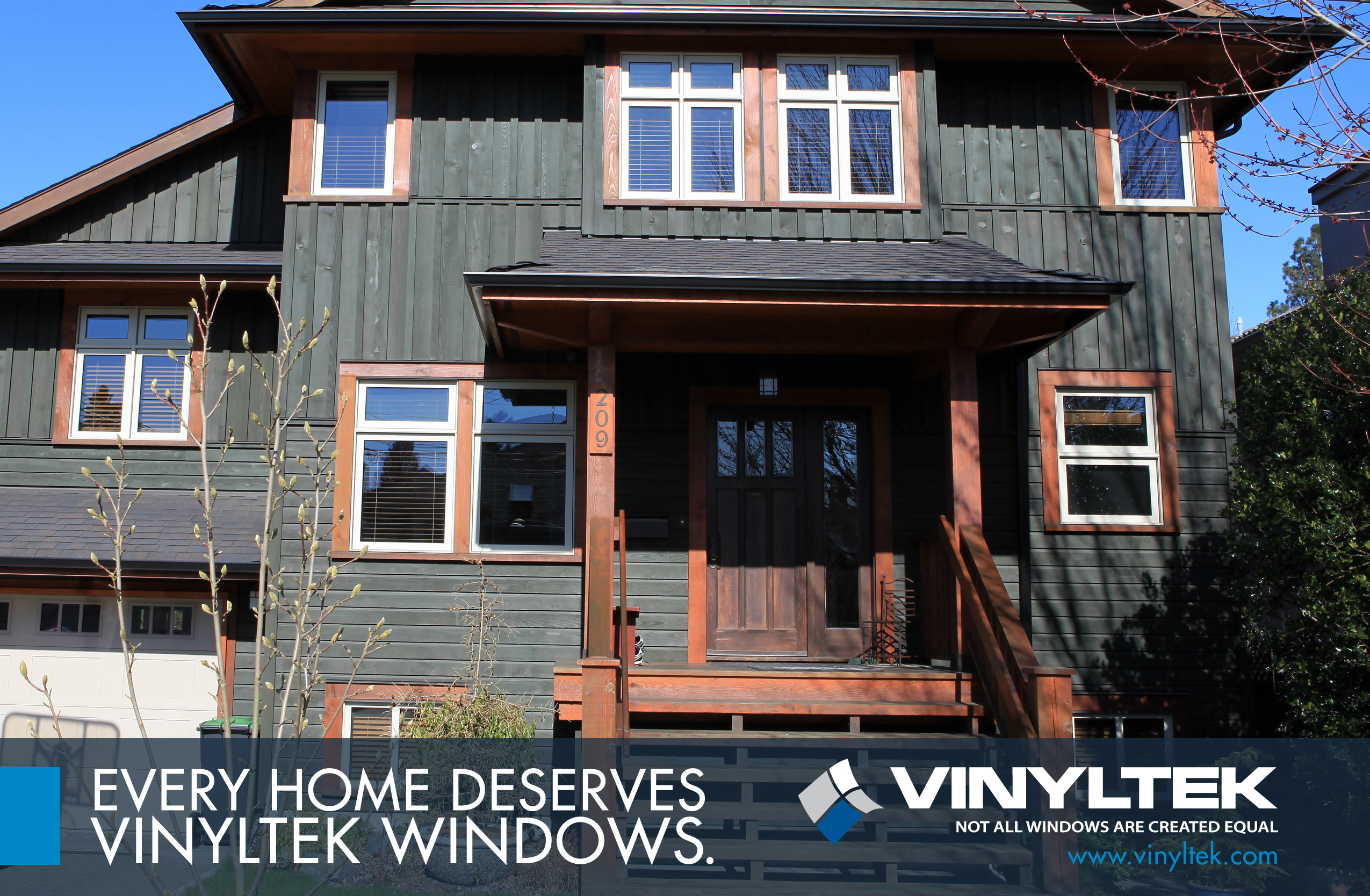 New windows of different sizes on a pacific northwest styled home