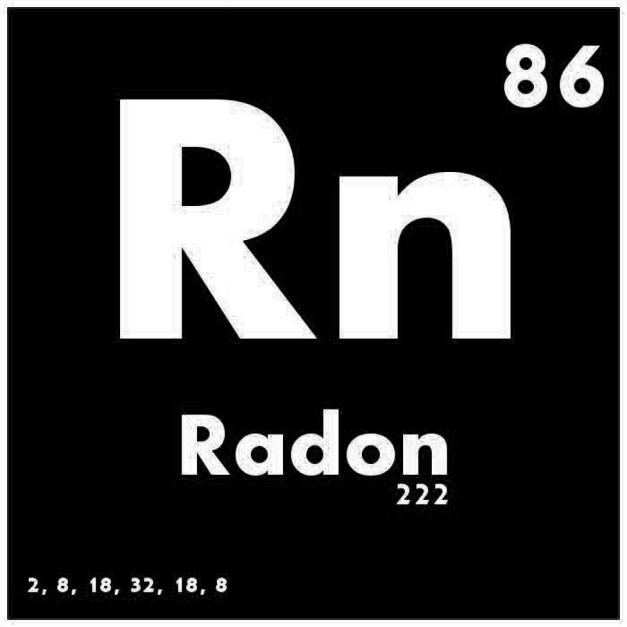 The periodic table of elements logo for radon
