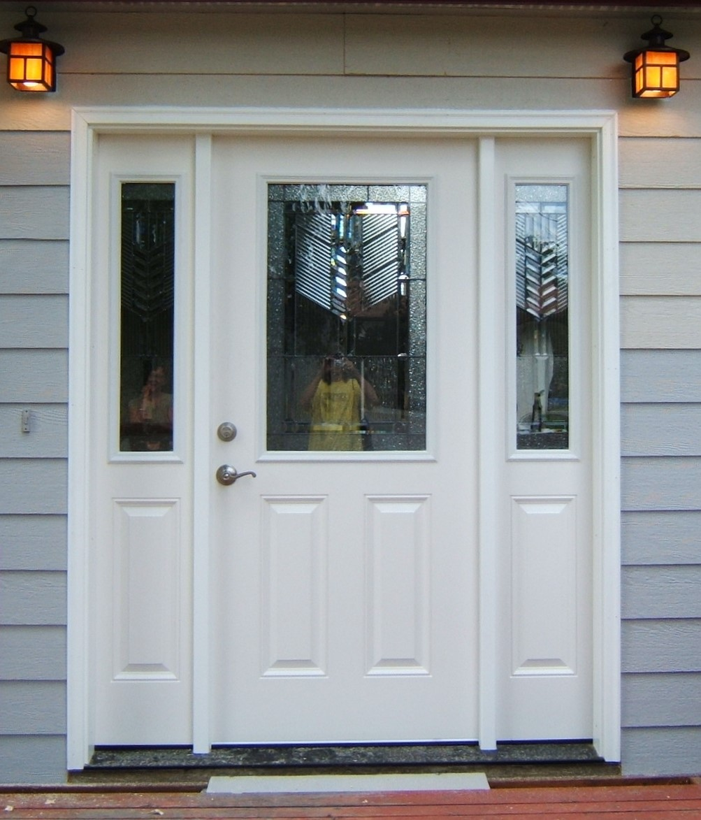 Front porch with large white door