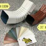 Two different sizes of gutter elbows next to an example of color options