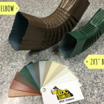 Two different sizes of gutter elbows next to examples of color options