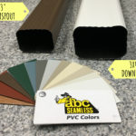 Two different sizes of gutter downspouts next to example of color options