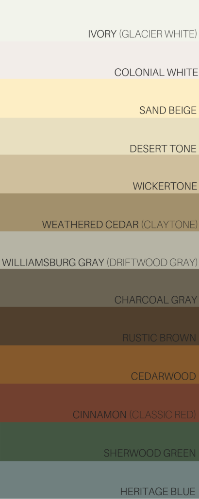 Palette of different colors demonstrating siding color options