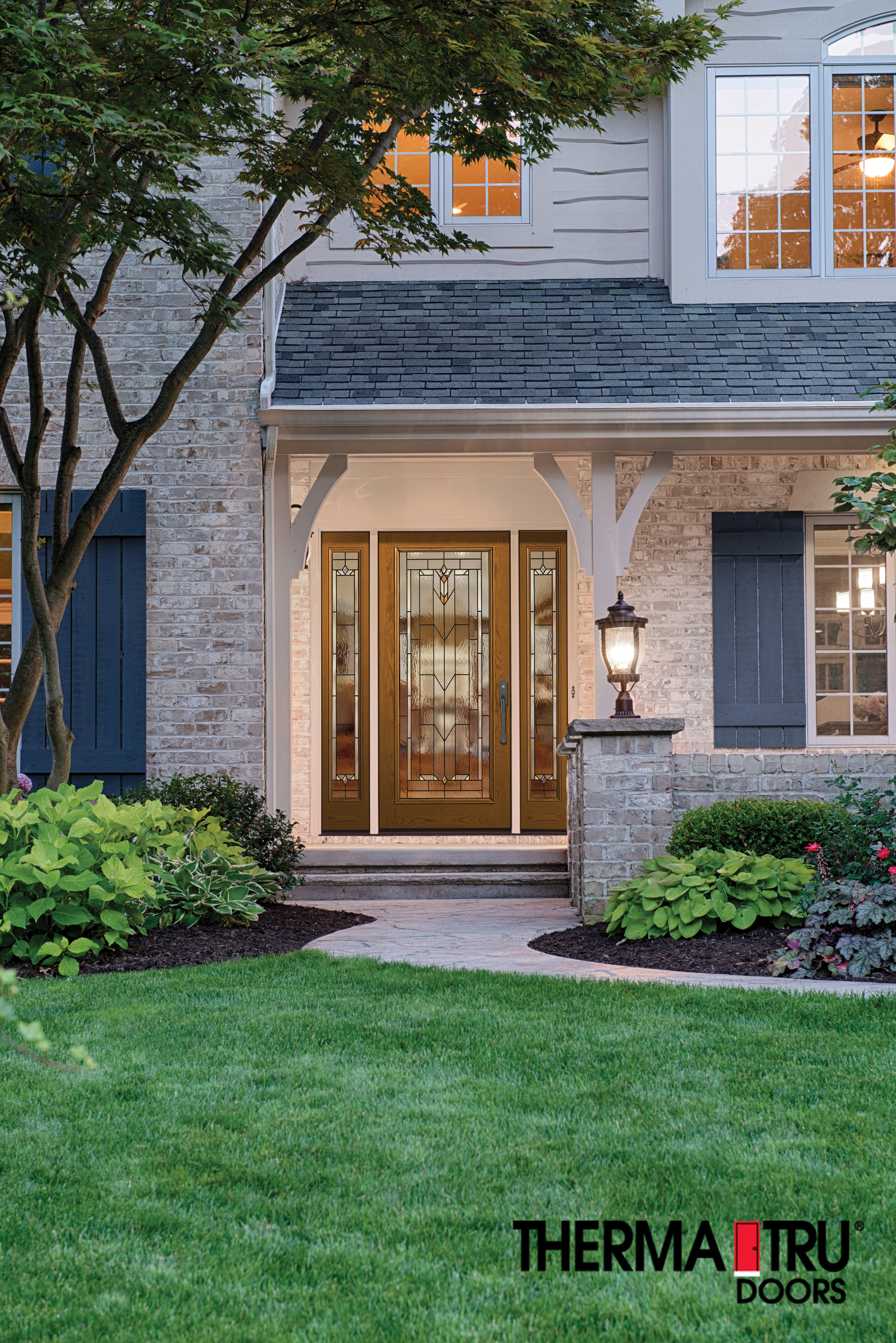 Exterior glass door on colonial style house